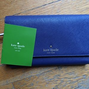 Kate Spade Blue Trifold Large Travel Wallet